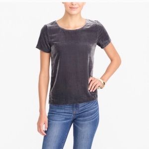 NWT J. Crew Grey Velvet Short Sleeve Top